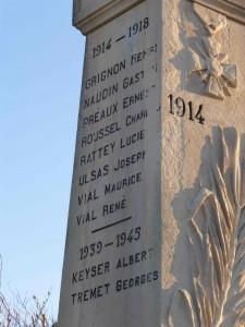 Monument aux morts de Buchères sur lequel sont indiqués les noms d'Albert Keyser et Georges Tremet (mort en déportation). Une rue de Buchères porte le nom de Georges Tremet. L'ADIRP a demandé que le nom d'Albert Keyser soit aussi honoré, ce que le maire, M. Daniel Lebeau, a aussitôt admis.