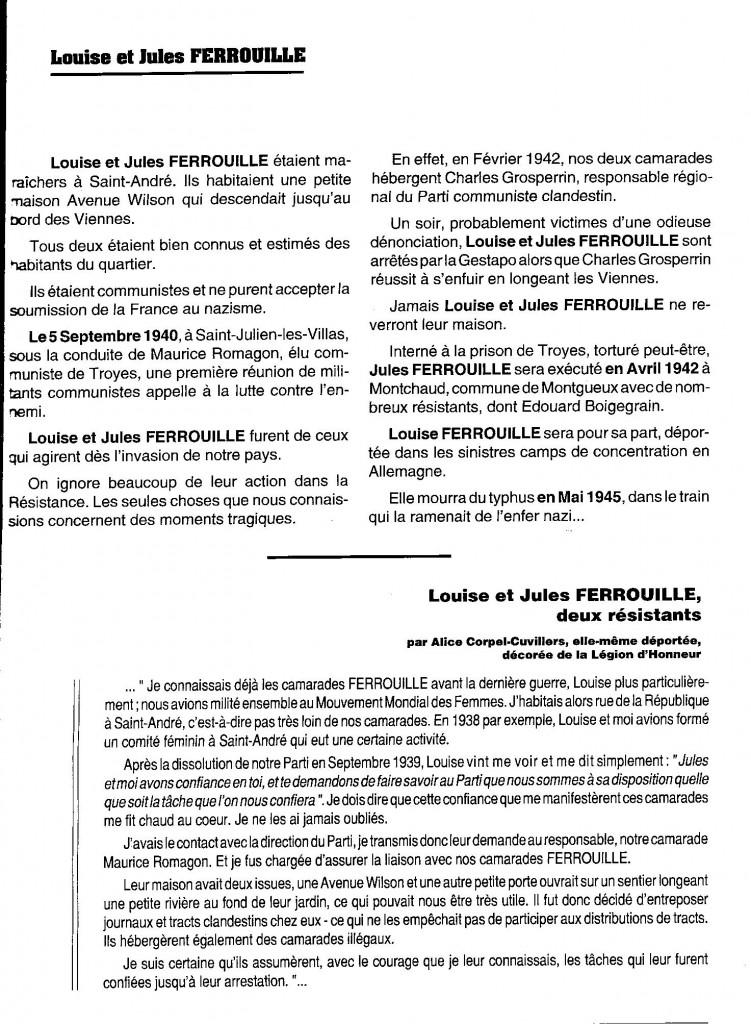 """A noter dans ce document, l'orthographe inexacte du patronyme """"Ferrouil"""" ainsi qu'une erreur dans la date du décès de Louise Ferrouil."""